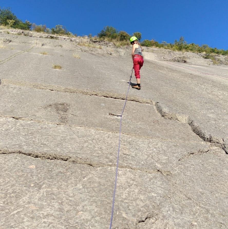 Sabine Herm beim Kletter